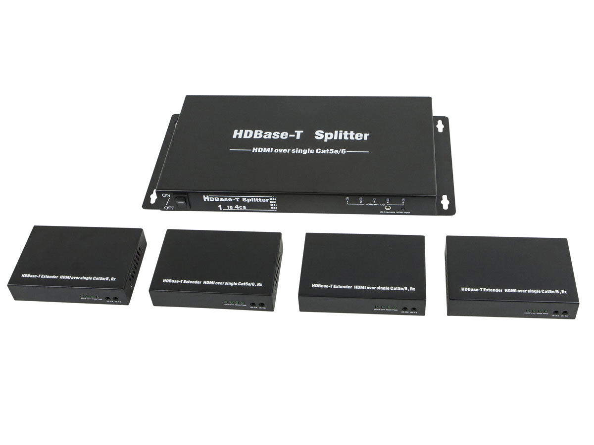 MP10684 HDBaseT 1x4 HDMI сплиттер и 4 приемника в комплекте, поддерживает ​​1080p и 3D, до 100 метров по CAT6/7